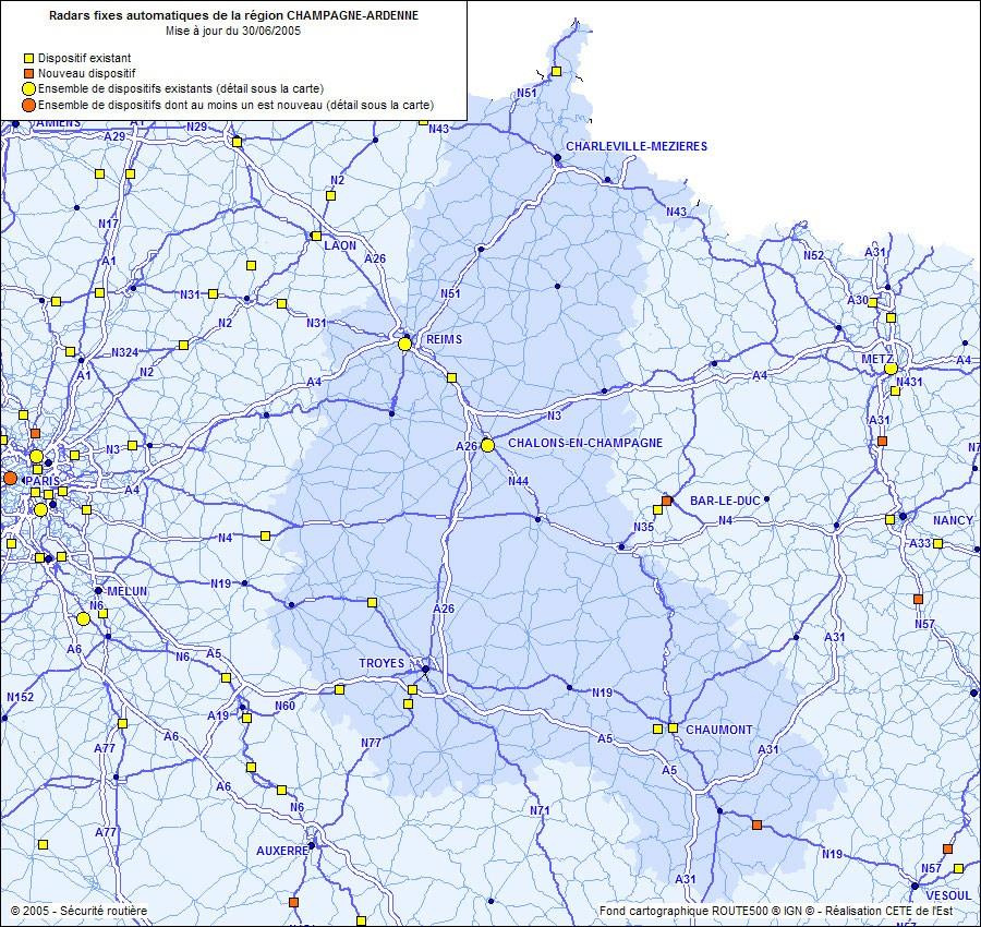 Radars fixes automatiques de la r�gion Champagne-Ardenne