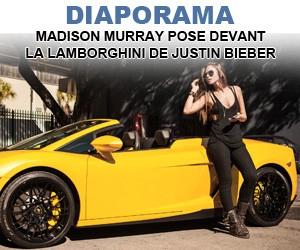Madison Murray pose devant la Lamborghini de Justin Bieber