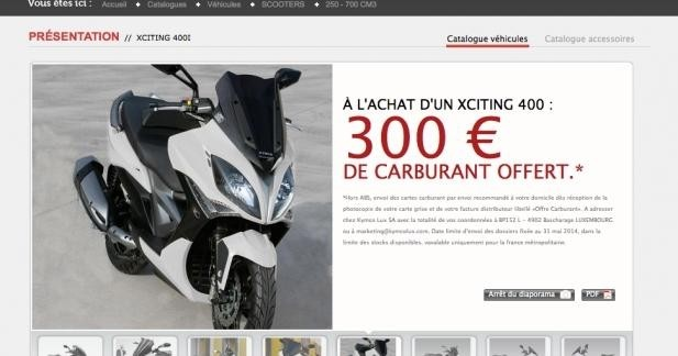 Kymco Xciting 400 : 300 € de carburant offerts