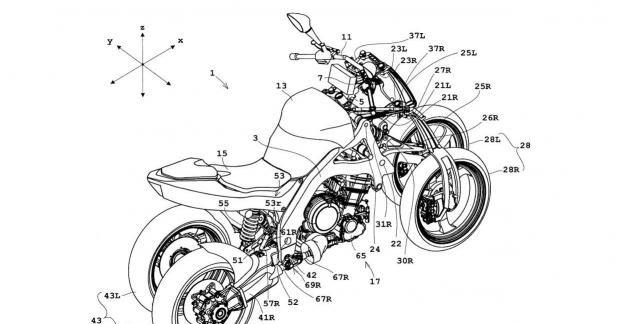 Brevet Honda : après le 3-roues, la moto 4-roues inclinable ?