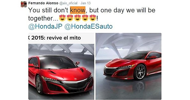 Fernando Alonso craque pour la nouvelle Honda NSX présentée à Detroit