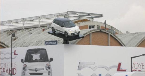 Fiat suspend une 500L au dessus de l'A1 pour sa promotion