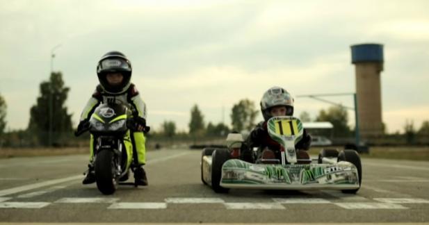 Quand un motard de 2 ans affronte un pilote de kart de 4 ans