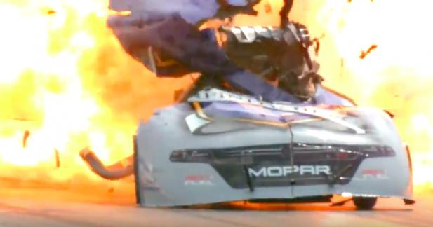 Il explose son dragster mais parvient à finir la course