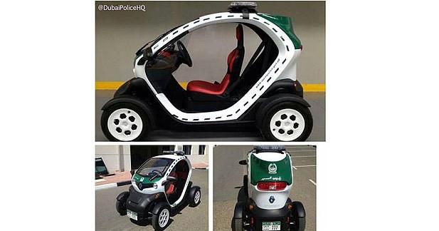 Une Renault Twizy parmi le parc faramineux de la police de Dubaï