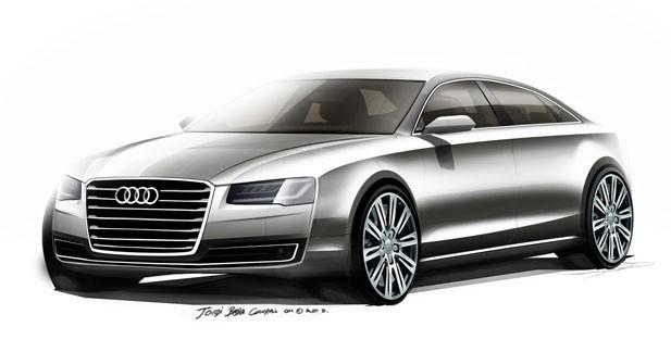 Audi A8 restylée : les derniers croquis