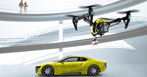 Un drone avec plate-forme d'atterrissage