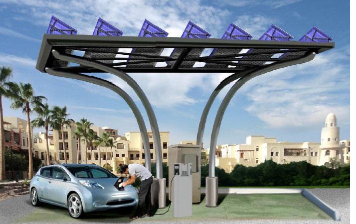 DBT présente une borne de recharge avec capteurs solaires