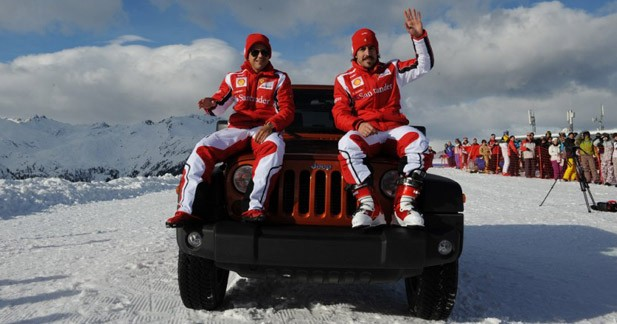 Les pilotes Ferrari se montrent en Jeep