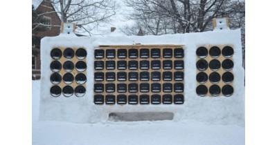 Après la sculpture sur glace, voici le caisson de grave en neige