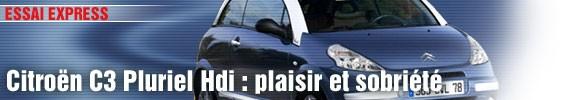 Essai Express/ Citroën C3 Pluriel Hdi 70 : plaisir et sobriété