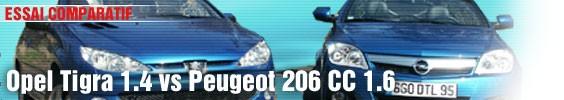 Essai comparatif/ Opel Tigra 1.4 vs Peugeot 206 CC 1.6