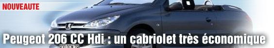 Peugeot 206 CC Hdi : un cabriolet très économique