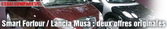 Essai Comparatif/ Smart Forfour vs Lancia Musa : deux offres originales