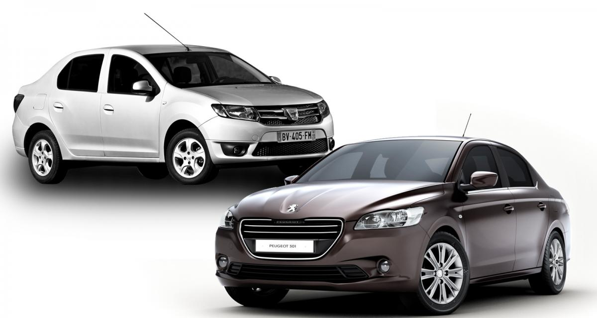 comparatif prix entre la peugeot 301 et la dacia logan. Black Bedroom Furniture Sets. Home Design Ideas
