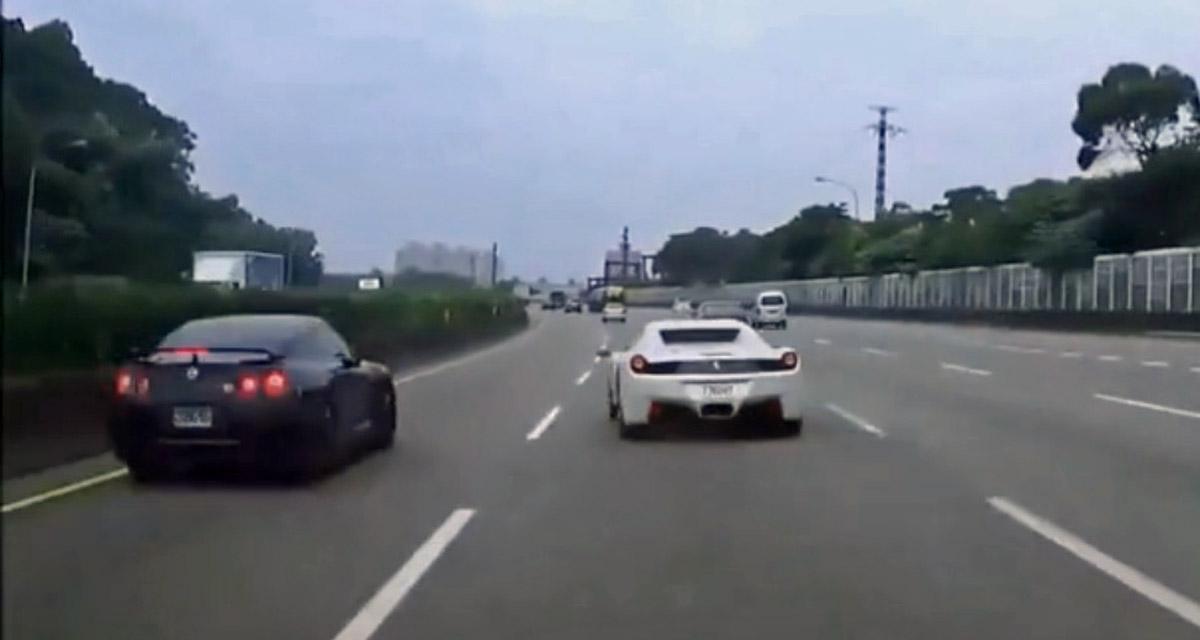 Une course entre une Ferrari 458 et une Nissan GT-R se termine mal