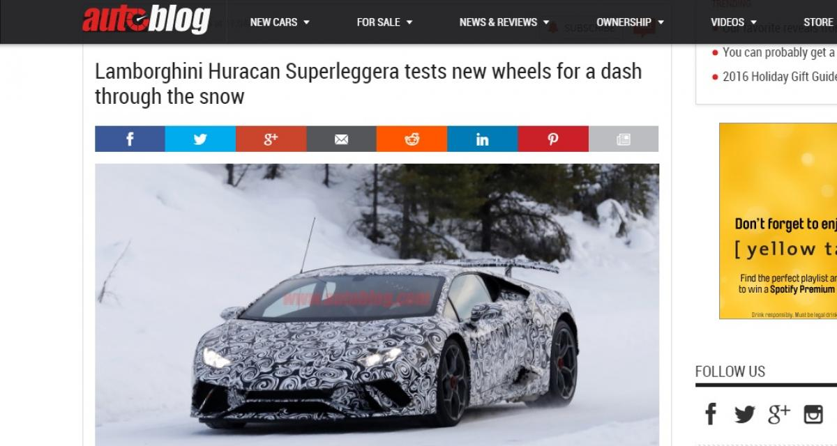 La future Lamborghini Huracan Superleggera surprise dans la neige