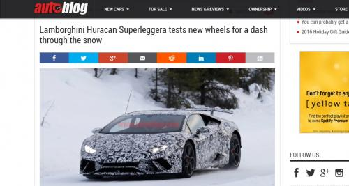 La future Lamborghini Huracan Superleggera surprise dans la neige