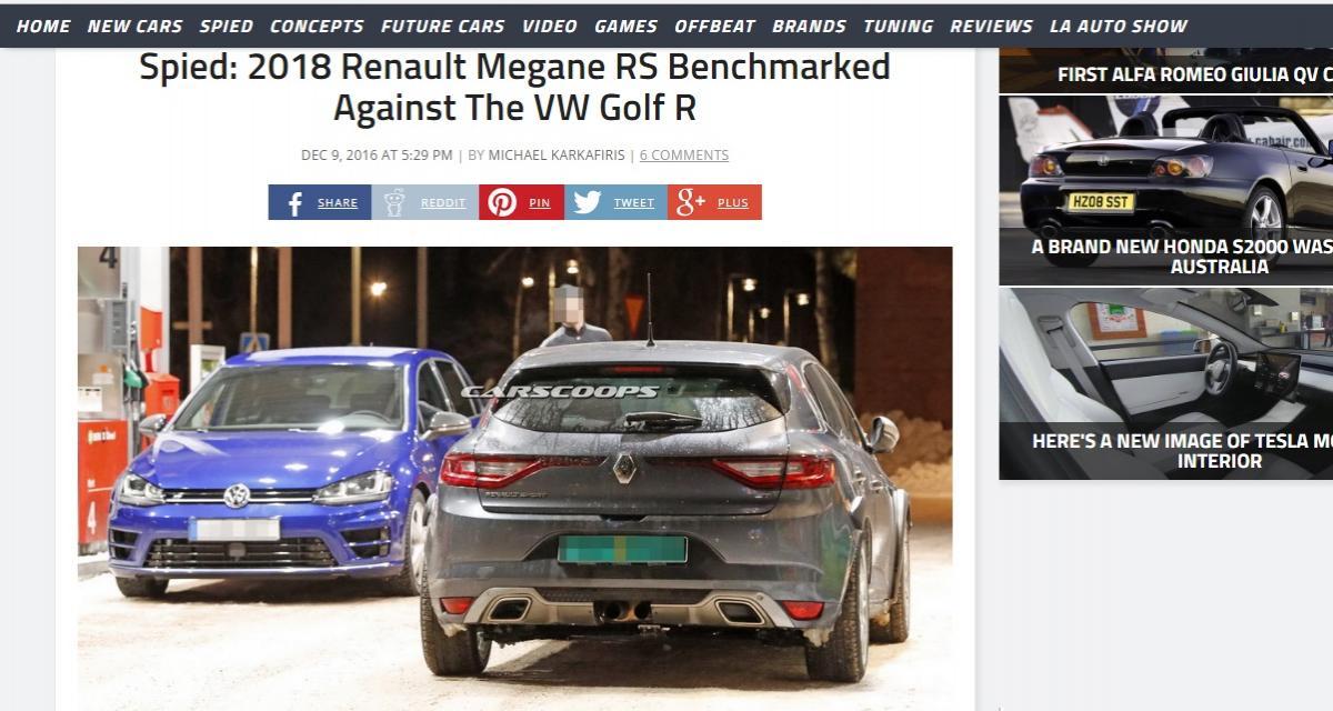 La future Renault Mégane RS affronte déjà la Volkswagen Golf R
