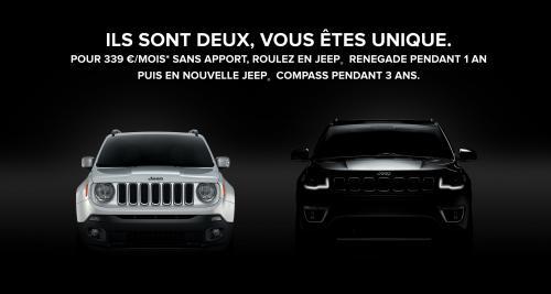 Entrez dans l'univers Jeep en louant un Renegade puis un Compass