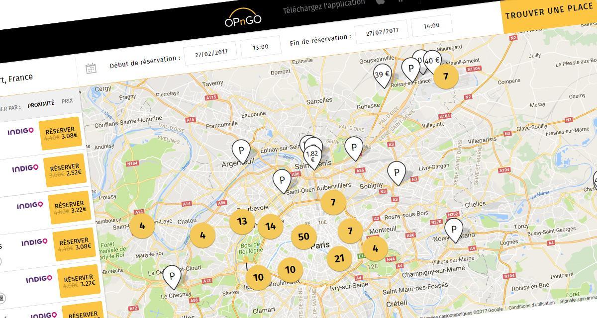 trouver une place de parking libre et moins ch re avec l 39 application opngo. Black Bedroom Furniture Sets. Home Design Ideas