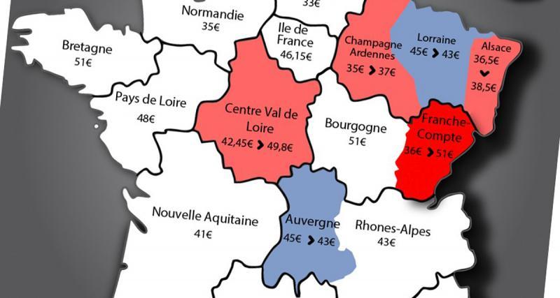 Combien coûte une carte grise depuis le nouveau découpage des régions?