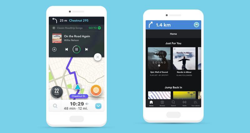 Waze et Spotify se sont associés pour simplifier l'utilisation du Smartphone en voiture