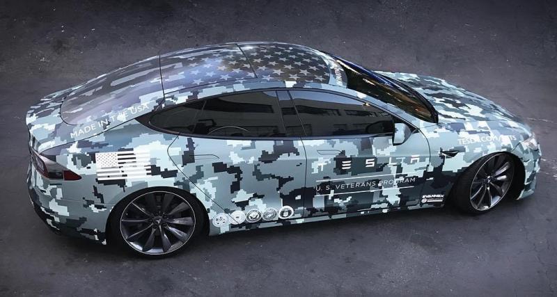 La Tesla Model S s'habille en camouflage pour la bonne cause