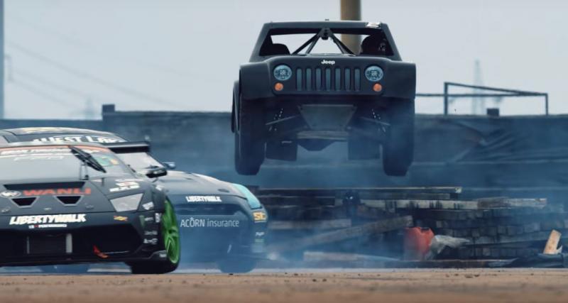Une Lamborghini Murcielago, une Nissan GT-R et un Jeep se rencontrent pour faire du drift
