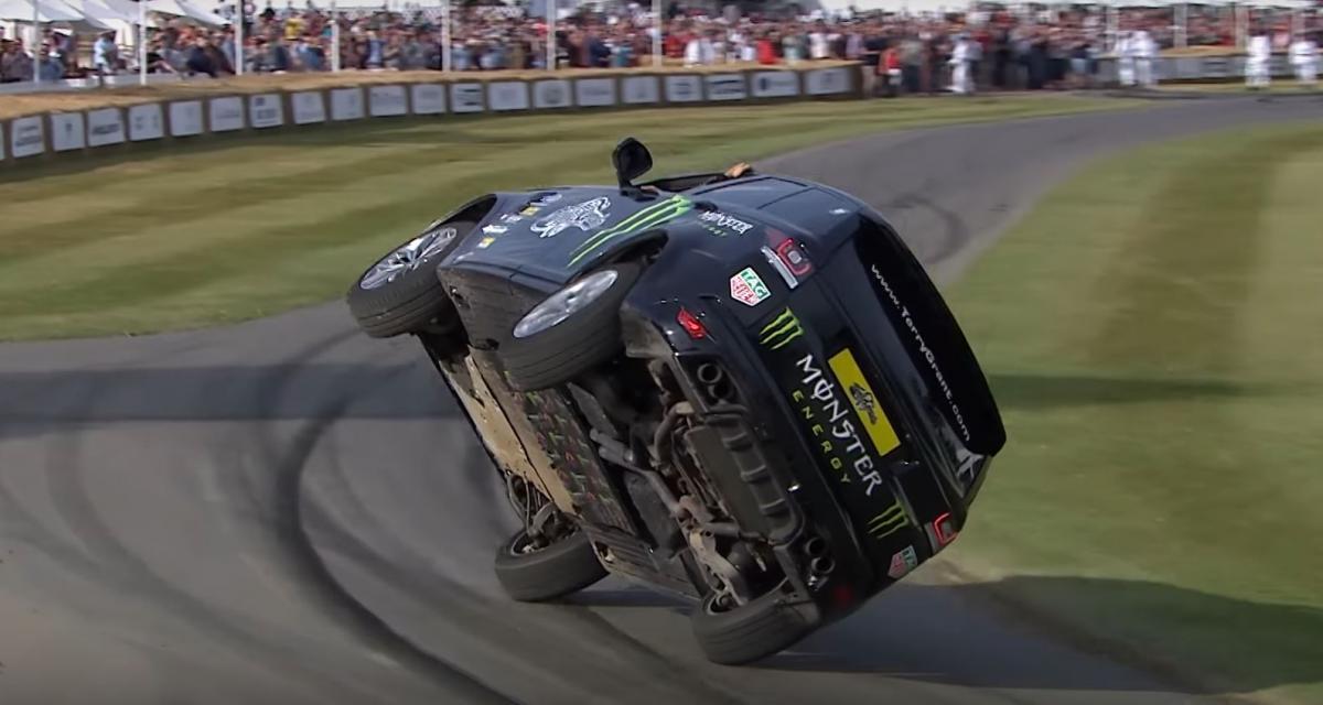 Le Range Rover Sport SVR s'attaque à la montée de Goodwood sur deux roues