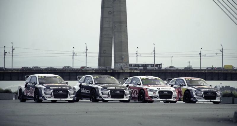 Quatre Audi S1 de rallycross terrorisent la ville de Riga