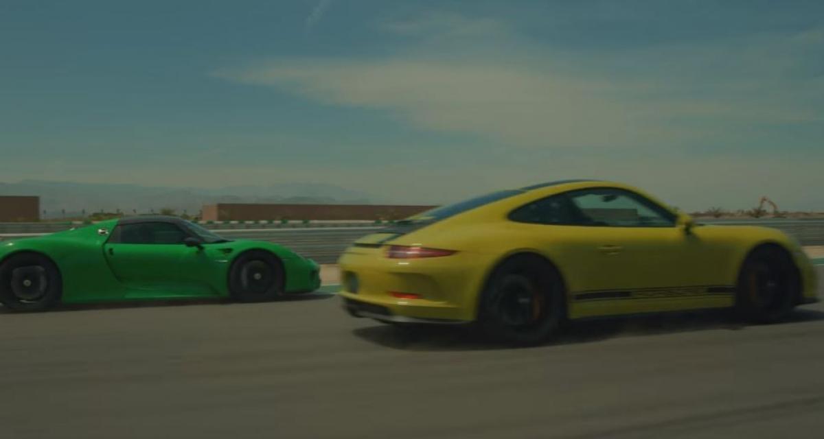 Les Porsche 918 Spyder et 911 R s'affrontent sur circuit