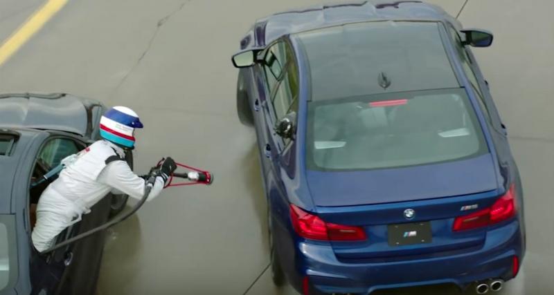 Ravitaillement en plein drift pour le record de la BMW M5
