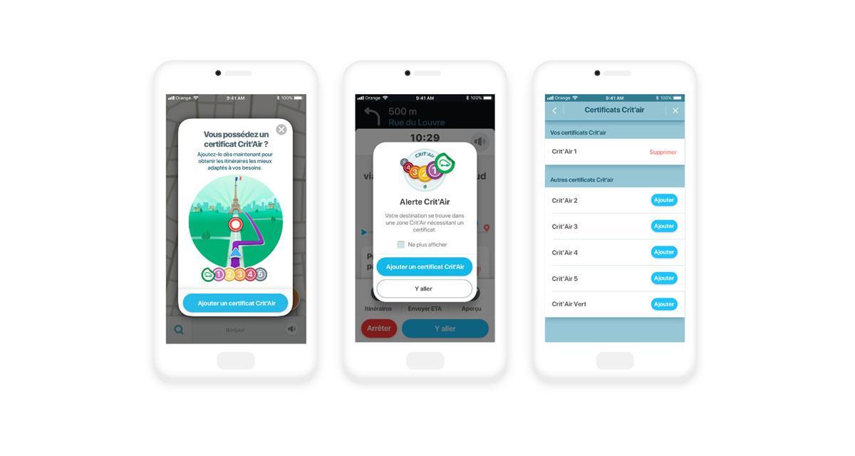 Waze tient compte des données Crit'Air pour guider le conducteur