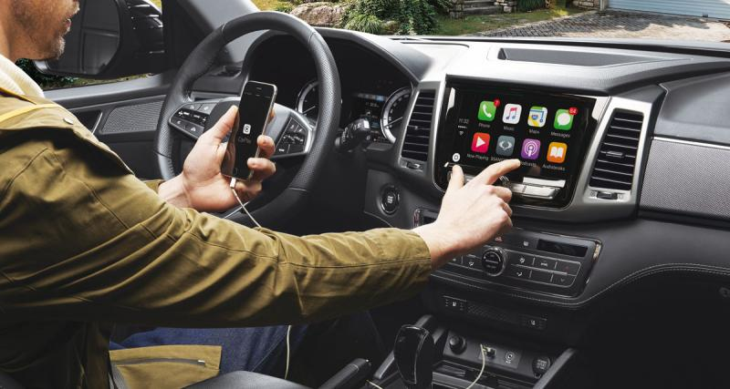 Le nouveau pick-up SsangYong Musso pourra recevoir un système multimédia avec CarPlay et Android Auto