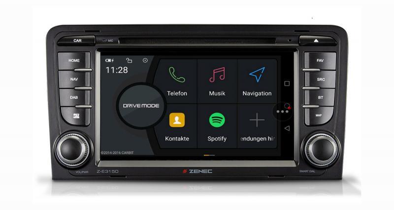 "Un autoradio GPS compatible Smartphone Android ""plug and play"" pour Audi A3 chez Zenec"