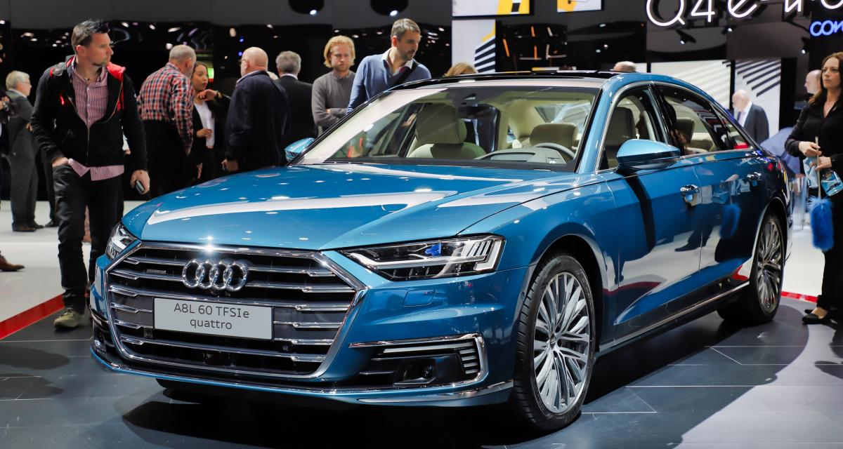 Audi A8 PHEV : nos photos de la version hybride rechargeable au salon de Genève 2019