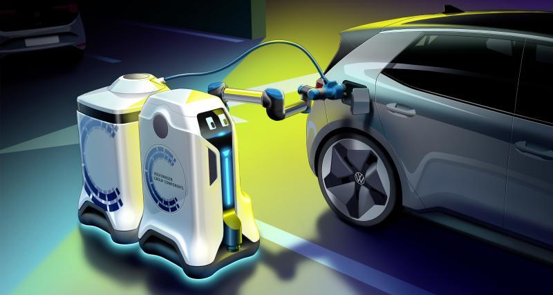 Volkswagen : un robot autonome visionnaire recharge les véhicules électriques