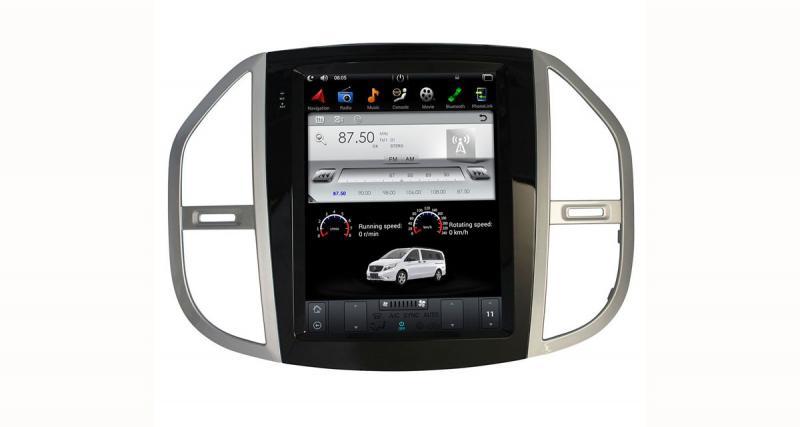 Un autoradio Tesla style pour le Mercedes Vito chez Belsee