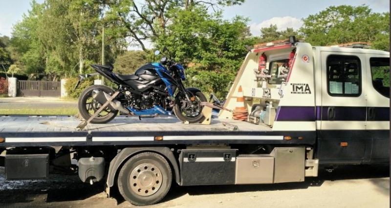 A 108 km/h dans un centre-ville au guidon d'une Suzuki 750 GSX