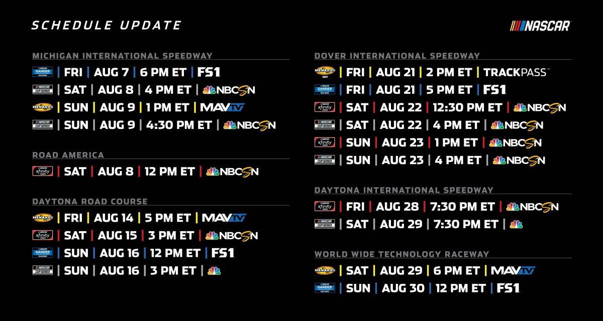 Nascar Cup Series : la programmation du mois d'août