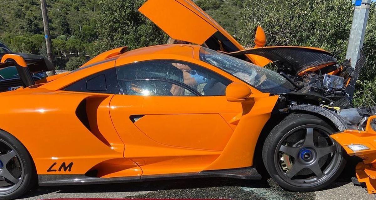 La McLaren Senna LM du pilote Adrian Sutil totalement détruite après un accident