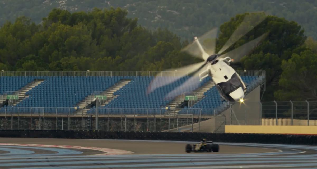 Une course entre un hélicoptère et une Formule 1 sur circuit, voilà ce que ça donne ! (vidéo)