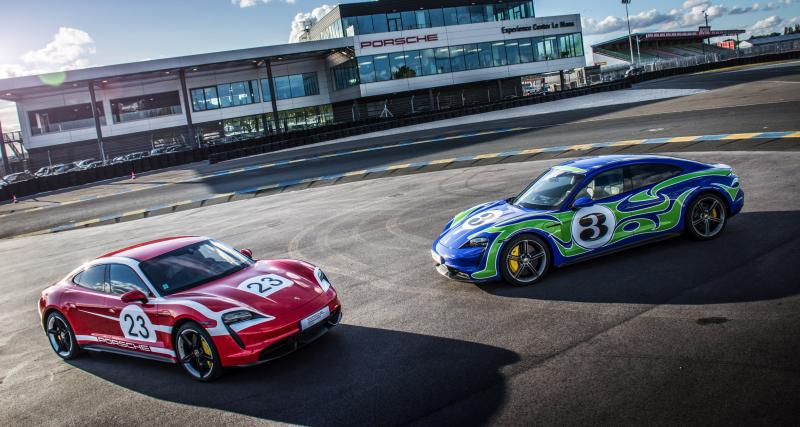 Porsche Taycan : des livrées historiques pour célébrer la victoire aux 24h du Mans 1970