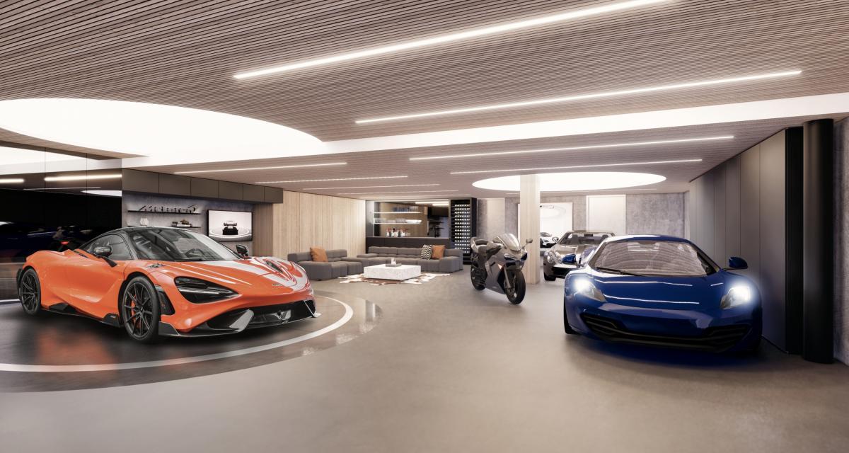 """Une 765 LT et un penthouse offerts si vous achetez ce """"Super Garage McLaren"""" à 16 millions de dollars"""