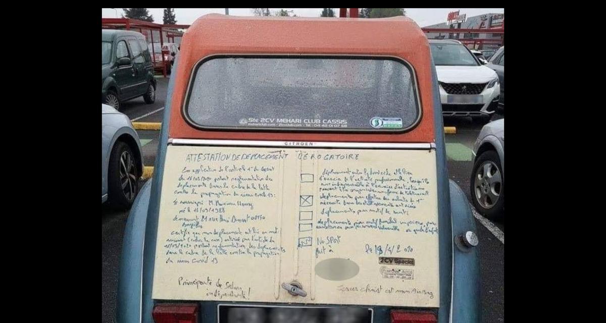 Une 2 chevaux-attestation de sortie, voilà l'invention lunaire d'un automobiliste des Ardennes