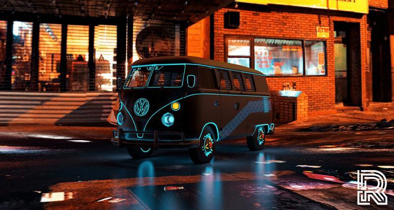 """CyberKombi : le """"rétrofit"""" numérique d'un Volkswagen Combi en mode Cyberpunk 2077"""