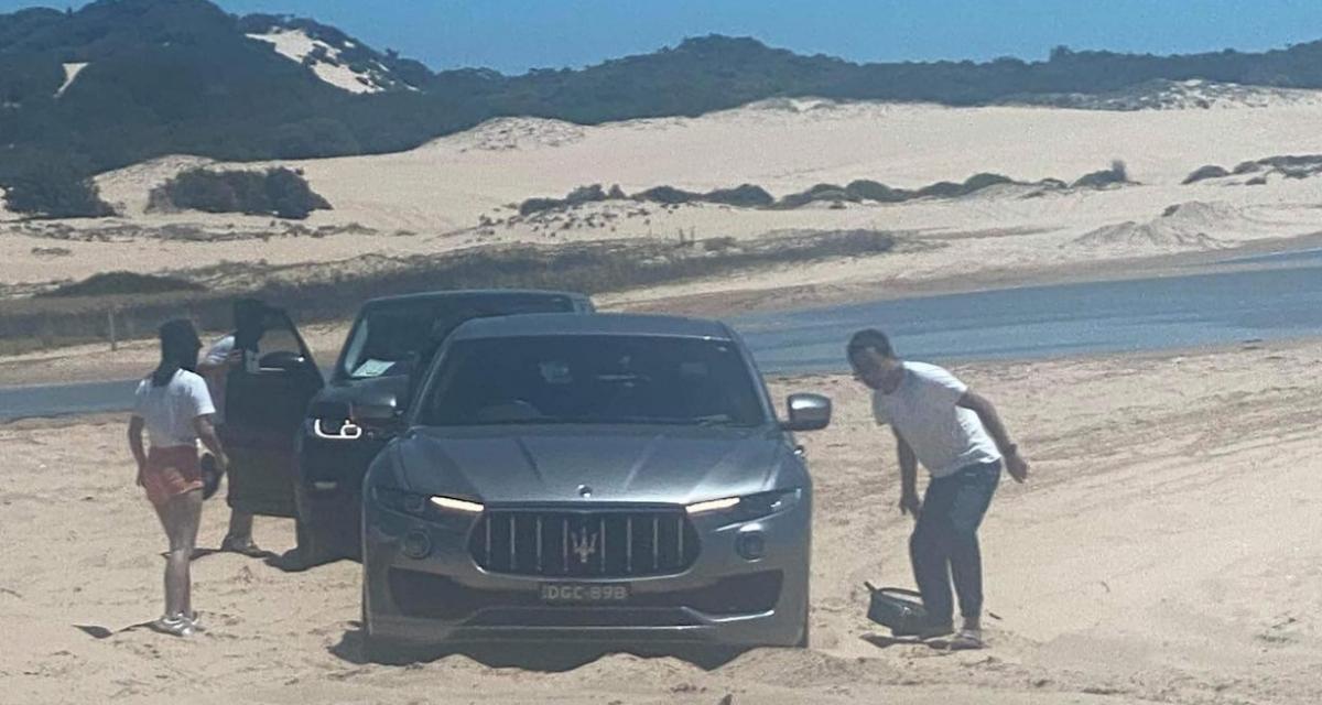 """""""Trop d'argent et pas assez de cerveau"""" : sa Maserati Levante s'enlise après un hors-piste sur une plage"""