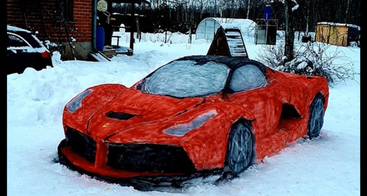 VIDEO - Une Ferrari taillée dans la neige : la réalisation incroyable d'un couple lituanien