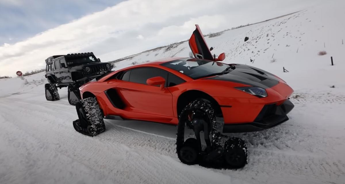Une Lamborghini Aventador avec des chaînes à neige, c'est inutile mais très impressionnant